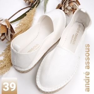 ANDRE ASSOUS White Canvas Espadrille Loafer 39